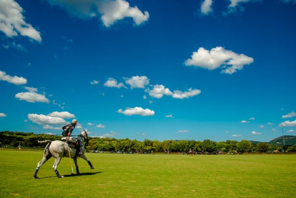 Polo player after changing his horse